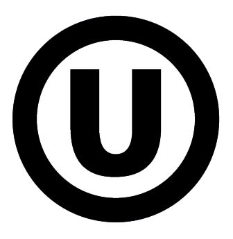 Orthodox union logo as used in Kosher food certification