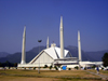 Islamabad, Pakistan: Faisal mosque - a giant Bedouin's tent designed by Turkish architect Vedat Dalokay - located at the end of Shaharah-e-Islamabad - photo by D.Steppuhn