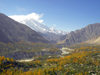 Karimabad / Baltit - Northern Areas, Pakistan: the village and the Hunza Valley seen from Baltit fort - KKH - photo by D.Steppuhn
