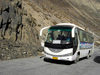 Khunjerab Pass, Hunza valley, Northern Areas / FANA - Pakistan-administered Kashmir: Chinese bus brings doing the Hunza tour - KKH - photo by D.Steppuhn