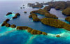 Rock Islands / Chelbacheb, Koror state, Palau: aerial view - ancient coral reefs - photo by B.Cain