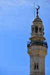 Bethlehem, West Bank, Palestine: minaret of the Mosque of Omar - symbol of some religious harmony, as it was built on land donated by the Greek Orthodox Church - photo by M.Torres