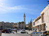 Bethlehem, West Bank, Palestine: Manger Square - esplanade between the Mosque of Omar and the Church of the Nativity - Center of Bethlehem - Peace Center building on the right - Piazza della Mangiatoia di Betlemme - photo by M.Torres