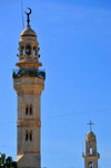 Bethlehem, West Bank, Palestine: shared skyline - minaret of the Mosque of Omar and tower of the Syriac Orthodox Church of the Mother of God - photo by M.Torres