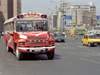 Lima, Peru: traffic - red Ford bus - photo by M.Bergsma