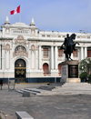 Lima, Peru: Plaza Bolivar - equestrian statue of Bolivar and Legislative Palace - Congress of Peru - Monumento al Libertador y Congreso Nacional - photo by M.Torres