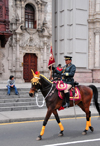 Lima, Peru: mounted officer leads the change of the guard cortège - Plaza de Armas, in front of the Archbishop's palace - photo by M.Torres