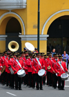 Lima, Peru: Peruvian National Police marching band in Plaza de Armas - change of the guard parade - photo by M.Torres