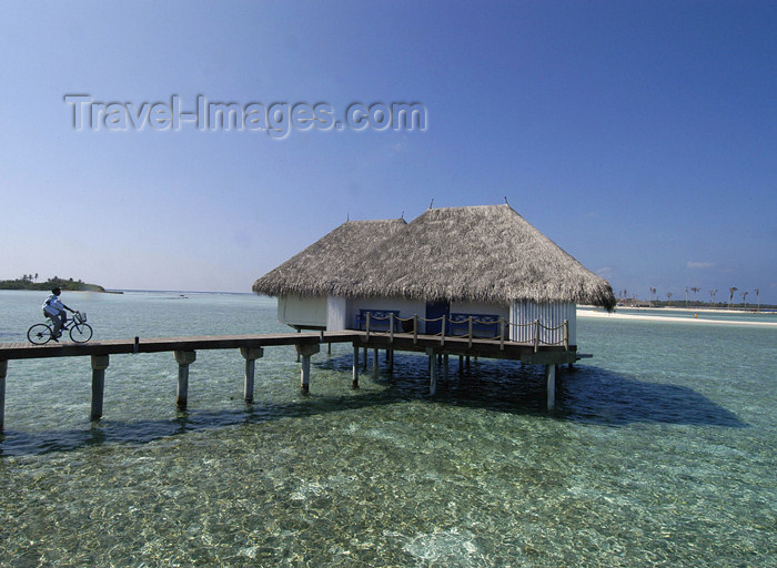 Maldives Water bungalow, bicycle, Four Seasons Resort, Kuda Huraa (photo by B.Cain)