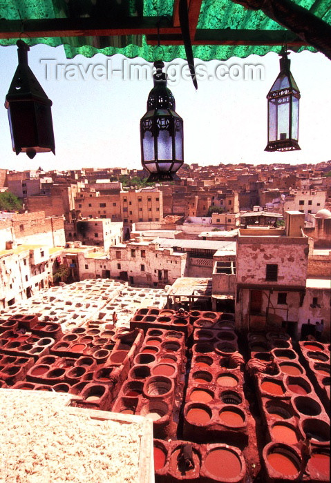 Morocco / Maroc - Fez / Fès: the tanneries - Leather dyeing vats in Fes - Medina - Unesco world heritage site - photo by F.Rigaud
