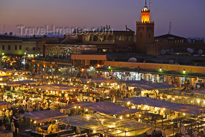 Marrakesh - Morocco: Place Djemaa el Fna - dusk - photo by Sandia