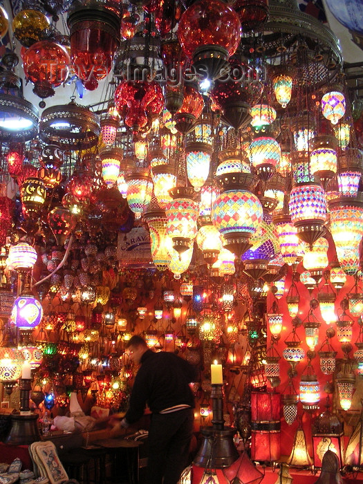 Turkey - Istanbul: colourful Turkish lamps for sale in the Grand Bazaar (photo by Austin Kilroy)