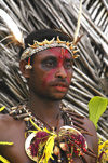 PNG - Papua New Guinea - Head & shoulders of male performer, Tuam Island - photo by B.Cain