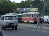 Russia - Udmurtia - Izhevsk: traffic - trams and van - photo by P.Artus