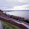 Nizhny Novgorod (former Gorky), Russia: view over the kremlin wall and steps down to Volga River - harbour and the confluence of Oka and Volga Rivers (Strelka) - photo by A.Harries