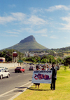South Africa - Cape Town: Protesting (anti-abortion demonstration) - background: Devil's Peak (photo by M.Torres)