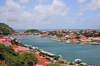Gustavia, St. Barts / Saint-Barthélemy: the town has the shape of a horseshoe around the small, sheltered harbor - view from Fort Gustave - natural leeward port -  anse naturelle ouvrant sur la rade de Gustavia - photo by M.Torres