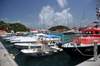 Gustavia, St. Barts / Saint-Barthélemy: rescue boat and small yachts - harbour scene - photo by M.Torres