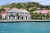 Gustavia, St. Barts / Saint-Barthélemy: the Wall House - library and historical museum of St Barthélemy - Fort Oscar and Place Vanadis - seen from the harbour - photo by M.Torres