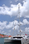 Gustavia, St. Barts / Saint-Barthélemy: 76ft catamaran Akasha, designed by P. Wehrley and built by Matrix Yachts, powered by 2 Yanmar 4LHA-STP Marine diesels - charter yacht - photo by M.Torres