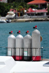 Gustavia, St. Barts / Saint-Barthélemy: oxygen bottles on a divers' boat - photo by M.Torres