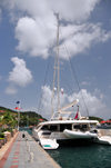Gustavia, St. Barts / Saint-Barthélemy: aft view of the charter catamaran Akasha - based in the BVIs - photo by M.Torres