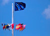 Gustavia, St. Barts / Saint-Barthélemy: Flag of Europe and courtesy flags in the harbour - photo by M.Torres