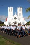 Samoa - Upolo - Apia: Police march every morning to the flag-raising - Immaculate Conception of Mary Catholic Cathedral - Main West Coast Road - Fetu Ole Moana - photo by R.Eime