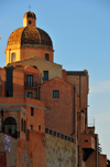 Cagliari, Sardinia / Sardegna / Sardigna: dome of St Mary's Cathedral above the houses of the Castle district - view from Terrazza Umberto I - quartiere Castello - photo by M.Torres
