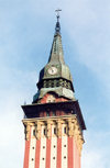 Serbia - Vojvodina - Subotica / Szabadka: tower of the city hall - Secessionist architecture - photo by M.Torres
