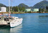 Mahe, Seychelles: Victoria - in the port - catamaran and fuel storage - photo by M.Torres