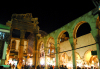 Damascus / Damasco, Syria: Damascus: western gate of the Roman temple of Jupiter - entrance to Souq Al Hamidiyeh - nocturnal - photographer: M.Torres