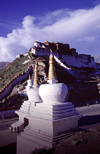 Lhasa, Tibet: chortens and Potala Palace - photo by Y.Xu
