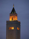 Tunis: minaret at dusk (photo by J.Kaman)