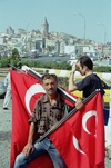 Turkey - Istanbul / Constantinople / IST: selling Turkish flags - photo by J.Kaman