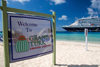 Grand Turk Island, Turks and Caicos: cruise center welcome sign and Holland America cruise ship - photo by D.Smith