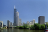 Chicago, Illinois, USA: Chicago River, the Willis / Sears Tower and surrounding skyscrapers - photo by C.Lovell