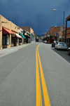 Santa Fé, New Mexico, USA: San Francisco street, looking east - dark sky 2 minutes before the rain - double yellow line - photo by M.Torres