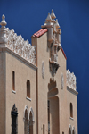 Santa Fé, New Mexico, USA: Lensic Theater - Santa Fé's Performing Arts Center - revival Mudéjar style façade designed by German-American architects Carl Heinrich Boller and Robert Otto Boller - dark sky before a storm - photo by M.Torres