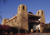 Santa Fé, New Mexico, USA: New Mexico Museum of Art - balcony on West Palace Avenue - Pueblo Revival Style architecture - architect Isaac Hamilton Rapp  - photo by C.Lovell