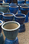 Santa Fé, New Mexico, USA: blue vases - Mexican Pottery for sale at the Mercado Trading Post - photo by C.Lovell