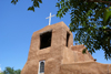 Santa Fé, New Mexico, USA: San Miguel chapel - oldest church in the USA - adobe walls and altar built by the Spanish in 1610 using Tlaxcalan workers - Barrio De Analco Historic District - photo by A.Ferrari