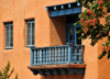 Santa Fé, New Mexico, USA: wooden balcony on Sandoval Street - offices of the Santa Fé County Clerk - photo by M.Torres