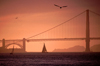 San Francisco (California): Golden Gate bridge at sunset - suspension bridge - part of US Highway 101 and California State Highway 1 - the brainchild of Joseph Strauss (photo by F.Rigaud)