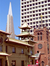 San Francisco (California): bricks and the Transamerica Pyramid (photo by M.Bergsma)
