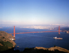 USA - San Francisco (California): view of Golden Gate bridge with skyline in background - photo by J.Fekete