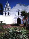San Diego: Mission San Diego de Alcala est, 1769, the oldest European mission in California - chapel façade - California's First Church - photo by J.Fekete