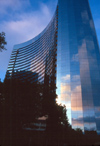 San Diego (California): Marriot Hotel with reflection of sunset clouds in glass wall - photo by J.Fekete