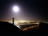 USA - San Francisco (California): Golden Gate bridge in the moonlight - photo by J.Fekete