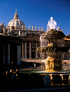 Vatican: St. Peter's Square - fountain and the Basilica - photo by J.Fekete